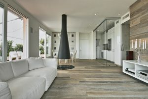 Interiors of a Modern Living Room with Wood Floor