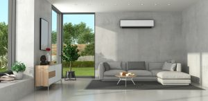 Miniimalist living room with modern furniture and air conditioner
